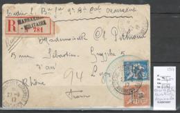 Maroc - Lettre Recommandée  De Marrakech Militaire - 1917 - Tresor Et Poste Aux Armées - - Morocco (1891-1956)