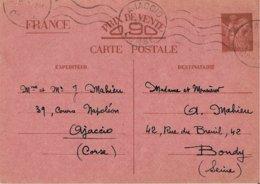 Entier Postal 90c Iris Ajaccio - Marcophilie (Lettres)