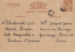 Entier Postal 90c Iris Avec Tampon Bouchon - Marcophilie (Lettres)