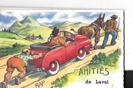 LAVAL  FANTAISIE   AMITIES  DESSIN COULEURS VOITURE TIRE ET POUSSE   DESSINATEUR RAP    DEPT 53 - Laval