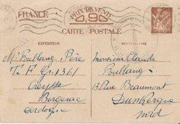 Entier Postal 90c Iris Avec Tampon Centre D'Instruction N°16, Bergerac - Marcofilia (sobres)