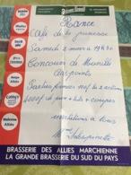 Affiche Rance Concours De Manille 2 Mars 1974 ( Posté En Février '74 ) Publicité Brasserie Des Alliés Marchienne Au Pont - Manifesti