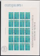 Liechtenstein 1971 FDC Europa CEPT Complete Sheet (LAR5-69) - 1971
