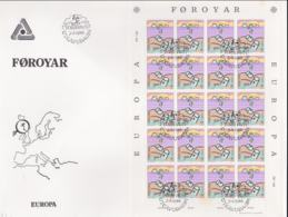 Faroe Islands 1986 FDC Europa CEPT Complete Sheet (LAR5-69) - 1986