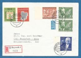 1954 DEUTSCHE POST BERLIN + BUNDEPOST BAYREUTH TO FRANKFURT - Cartas