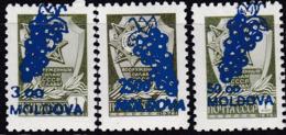 Moldau, 1994, 98/100,  MNH **, Sowjetunion MiNr. 4629 W Mit Dunkelblauem Bdr.-Aufdruck. - Moldavie
