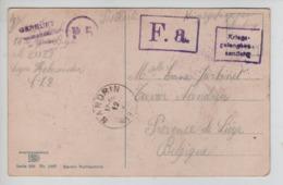PR7325/ PDG-POW CP/Fantaisie Camp De Holzminden Geprüft Censure- P.5 & F.a > Nandrin C.d'arrivée - WW I