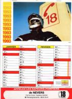 CALENDRIER  LES SAPEURS- POMPIERS DE NEVERS  Année 1993 Grand Format  6 Pages  Avec Photo - Calendriers