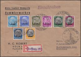 Elsaß 9-16 Hindenburg Mt Aufdruck 20 Bis 100 Pf MiF R-Bf SSt STRASSBURG 19.11.40 - Besetzungen 1938-45
