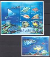 W823 MALDIVES FISH & MARINE LIFE A WORLD BENEATH THE SEA 1KB+1BL MNH - Meereswelt