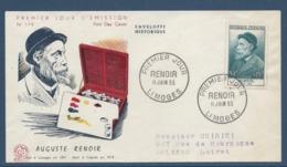France - FDC - Premier Jour - Auguste Renoir - Limoges - 1955 - FDC