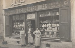 F24-91) YERRES - CARTE PHOTO -  DEVANTURE DE L'EPICERIE - COMESTIBLES - E. CHEF  - (2 SCANS) - Yerres
