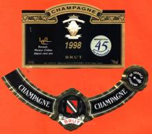 étiquette + Collerette De Champagne Brut Renault 45 Ans D'innivation 1998 Guillemart à Trigny - 75 Cl - Voitures