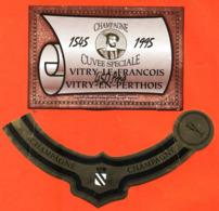 étiquette + Collerette De Champagne Brut 1545/1995 Vitry Le François Vitry En Perthois Gérardin à Vitry En Perthois - Politica (vecchia E Nuova)