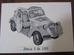 Carte Postale Voiture SIMCA 5 De 1935 - Passenger Cars