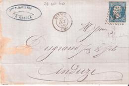 20c.Empire Non Dentelé (variété Grecque Sup; Gauche) Oblitéré P.C.1367 Dateur Type 15 GANGES Hérault - Marcophilie (Lettres)
