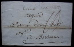 Castelnaudary Aude 13 Messidor L'An 6 Marque 10/ CASTELNAUDARY (58 X 10 Mm) Sur Une Lettre Pour Bordeaux - 1701-1800: Precursores XVIII