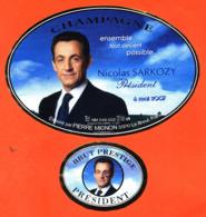 étiquette + Collerette De Champagne Brut Nicolas Sarkozy Président 6 Mai 2007 Pierre Mignon à Le Breuil -75 Cl - Politica (vecchia E Nuova)