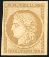 * N°1f, 10c. Bistre Clair. Réimpression. TB. - 1849-1850 Ceres