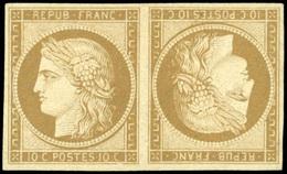 (*) N°1e, 10c. Bistre-verdâtre. Paire Tête-Bêche. Fraîcheur Exceptionnelle. 3 Pièces Connue. Ex Collection Bulinger, Cas - 1849-1850 Ceres