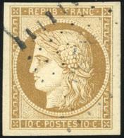 O N°1, 10c. Bistre-jaune. Belles Marges. Obl. Légère. SUP. - 1849-1850 Ceres