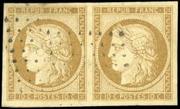 O N°1, 10c. Bistre-jaune. Paire. Obl. SUP. - 1849-1850 Ceres