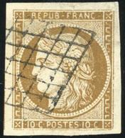 O N°1a, 10c. Bistre-brun Foncé. Grandes Marges. Obl. Grille. Pièce Exceptionnelle. SUP. - 1849-1850 Ceres