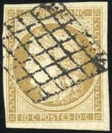 O N°1b, 10c. Bistre Verdâtre. Obl. Grille. 3 Grandes Marges. TB. - 1849-1850 Ceres