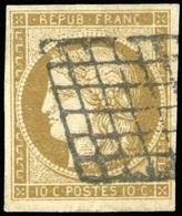 O N°1c, 10c. Bistre-verdâtre Foncé. Obl. Grille. Belles Marges. TB. - 1849-1850 Ceres