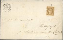 O N°1, 10c. Bistre. Obl. P.C. 1737 Sur Lettre Frappée Du CàD De LORREZ-LE-BOCAGE Du 14 Avril 1852 à Destination De SAULT - 1849-1850 Ceres