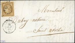 O N°1, 10c. Bistre-jaune Obl. PC 3398 S/lettre Frappée Du CàD De TOURS Du 28 Octobre 1852 à Destination De SAINT-AVERTIN - 1849-1850 Ceres