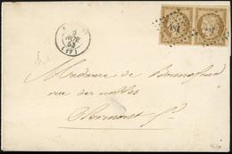O N°1, Paire Du 10c. Bistre-jaune Obl. PC 481 S/lettre Frappée Du CàD De BOURGES Du 9 Novembre 1853 à Destination De CLE - 1849-1850 Ceres