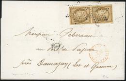 O N°1a, Paire Verticale Du 10c. Bistre-brun Obl. étoile S/lettre Frappée Du CàD Au Verso De PARIS (60) Du 29 Décembre 18 - 1849-1850 Ceres
