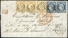O N°1x 3 + 4 X 2, 10c. Bistre-jaune Bande De 3 + 25c. Bleu Paire Obl. Grille S/lettre Frappée Du CàD De ROUEN Du 6 Août  - 1849-1850 Ceres