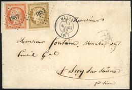 O N°15, 10c. Bistre-jaune (déf.) + 40c. Orange Obl. PC 1887 S/lettre Frappée Du CàD De MORNAY Du 18 Mars 1852 à Destinat - 1849-1850 Ceres