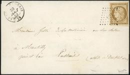 O N°1b, 10c. Bistre-verdâtre Obl. PC S/lettre Frappée Du CàD De LA COMMANDERIE Du 30 Août 1852 à Destination De PASSAIS  - 1849-1850 Ceres