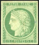 * N°2, 15c. Vert. Infime Trace D'encre Au Verso. TB. R. - 1849-1850 Ceres