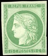 * N°2e, 15c. Vert. Réimpression. SUP. - 1849-1850 Ceres