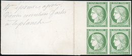 (*) N°2, Essai Du 15c. En Vert S/carton. Bloc De 4. Sans Teinte De Fond. Grand Bord De Feuille. SUP. - 1849-1850 Ceres