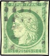 O N°2, 15c. Vert. Obl. Gros Points. Effigie Dégagée. SUP. - 1849-1850 Ceres