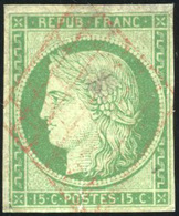O N°2, 15c. Vert (déf.) Obl. Grille Rouge Légère. Très Grande Rareté. Cote MAURY. B. - 1849-1850 Ceres