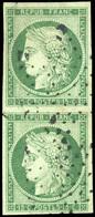 O N°2, 15c. Vert. Paire Verticale. Obl. Légère. TB. - 1849-1850 Ceres