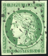 O N°2b, 15c. Vert Foncé. Obl. PC 367. TB. - 1849-1850 Ceres