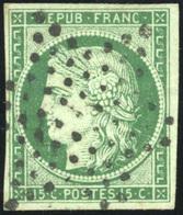 O N°2b, 15c. Vert Foncé. Obl. étoile. SUP. - 1849-1850 Ceres