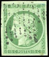 O N°2b, 15c. Vert Foncé. Obl. étoile Légère. Petite Tâche Mais TB. - 1849-1850 Ceres