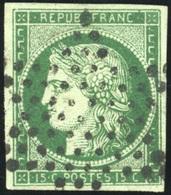 O N°2c, 15c. Vert Très Foncé. Obl. étoile. SUP. - 1849-1850 Ceres