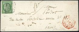 O N°2, 15c. Vert Obl. Grille Arrondie De Paris + Cachet Rouge ''P.P. Du Bureau G'' S/lettre Locale à Destination De PARI - 1849-1850 Ceres