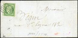O N°2, 15c. Vert Obl. Sur Lettre. Timbre Décollé Pour Vérifier La Qualité. TB. - 1849-1850 Ceres