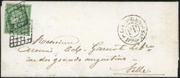 O N°2, 15c. Vert Obl. Grille S/lettre Portant Le Cachet ''P.P'' à Destination De LILLE. TB. - 1849-1850 Ceres