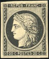** N°3a, 20c. Noir S/blanc. TB. - 1849-1850 Ceres